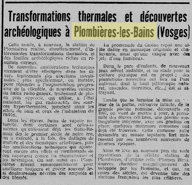 Fouilles archéologiques à Plombières-les-Bains